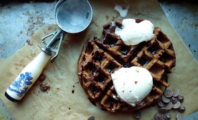 Chocolate waffle with ice cream