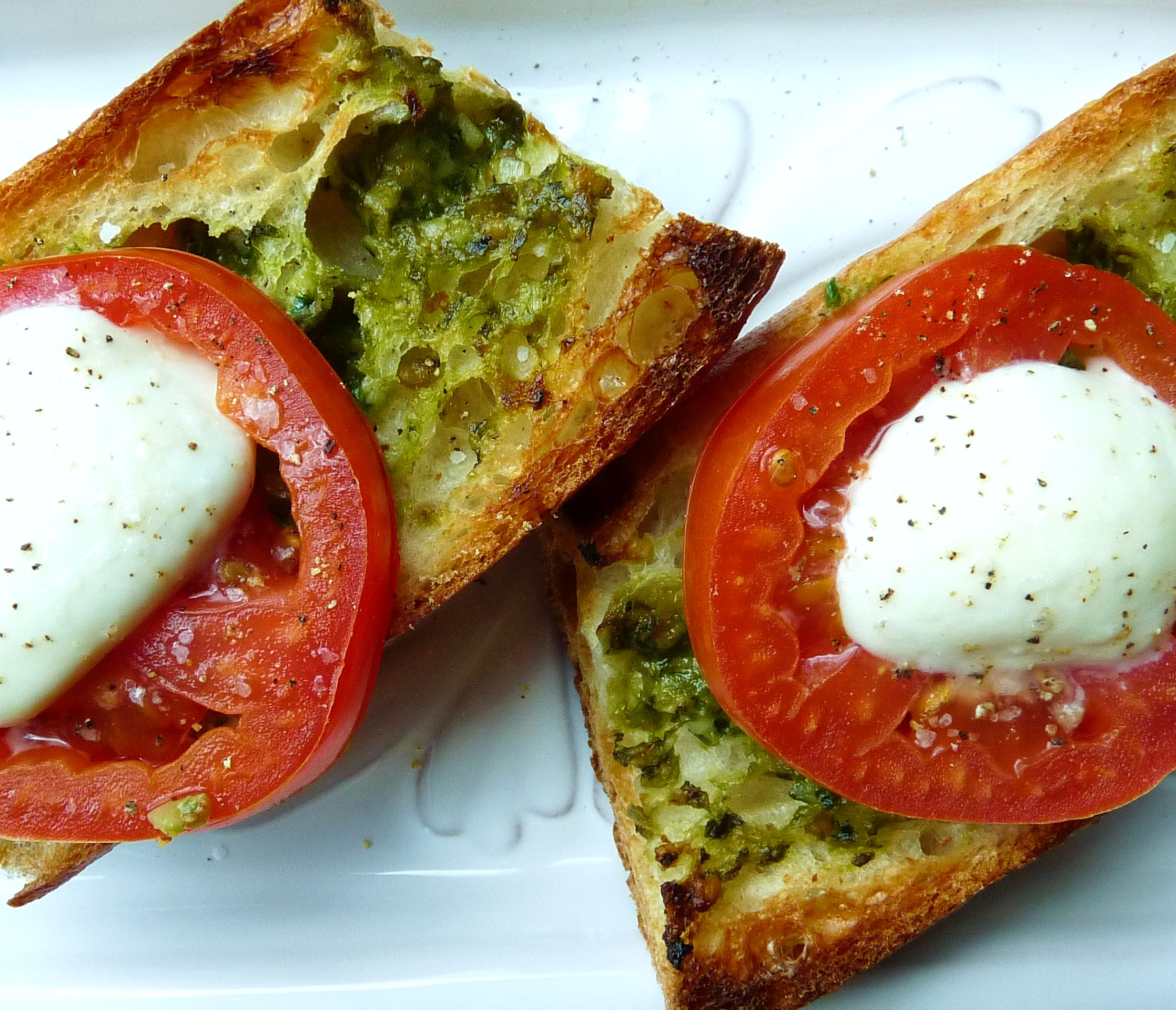 ramp pesto on toasted baguette