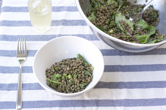Lentils with Greens, Parsley, and a Mustardy-Lemon Dressing