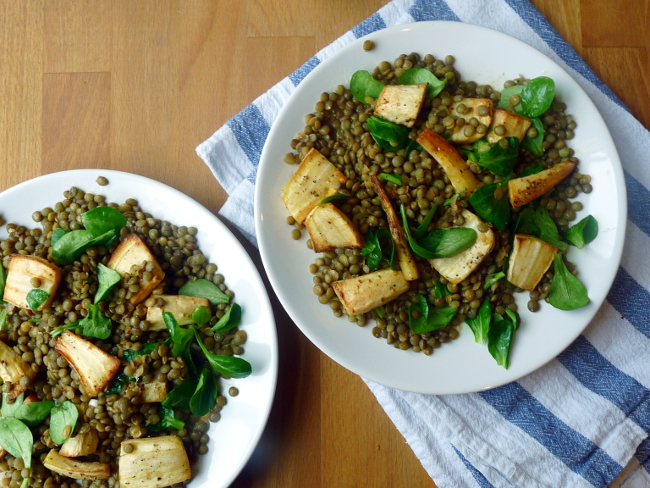 Roasted Parsnip and Green Lentil Salad