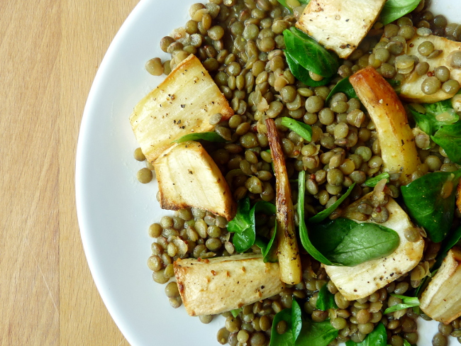 Roasted Parsnip and Green Lentil and Cress Salad