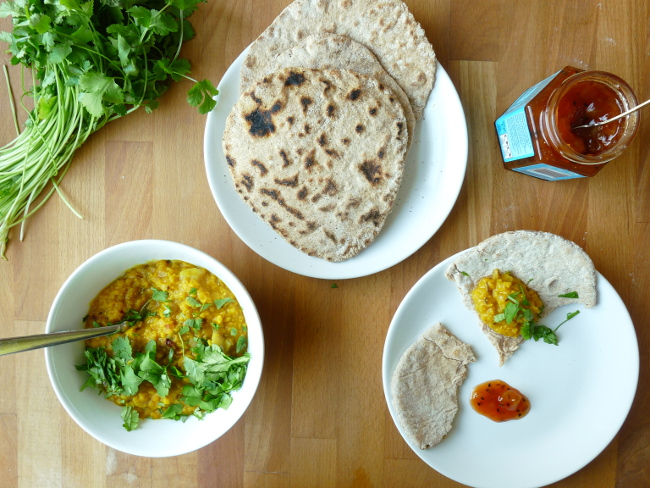 Homemade Chapati and Simple Dal