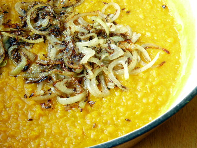 Dal with fried onions